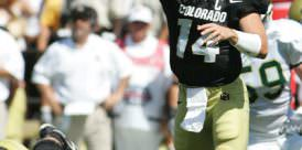 Joel Klatt throws a pass for the Univeristy of Colorado against Colorado State