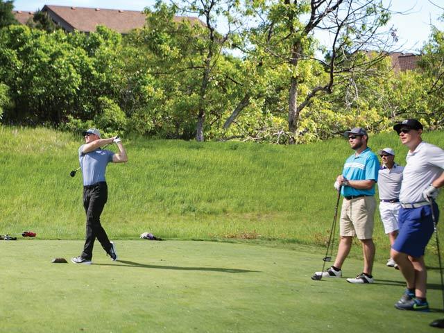 Joel Klatt enjoys golfing with buddies Chuck James, Dave Runyon, and Tom Reimann