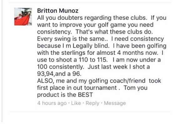 Blind golfer testimonial Wishon single-length iron