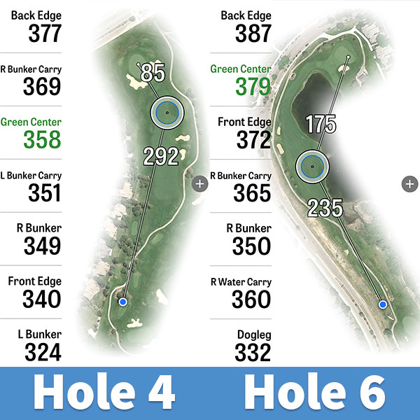 Hole Layouts for No. 4 and No. 6 at Lone Tree