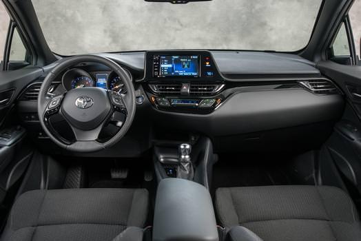 The Toyota's dark cockpit.