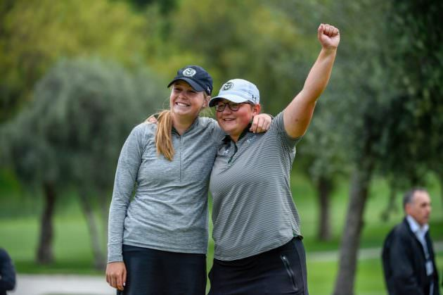 RAMMING IT HOME: US Amateur 4-Ball Champions, Colorado State's Katrina Prendergast (left) and Ellen Secor.
