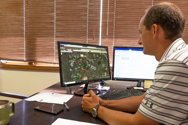 From his office, CG&T's Drew Hunter can track the status of ever Visage GPS-equipped vehicle.