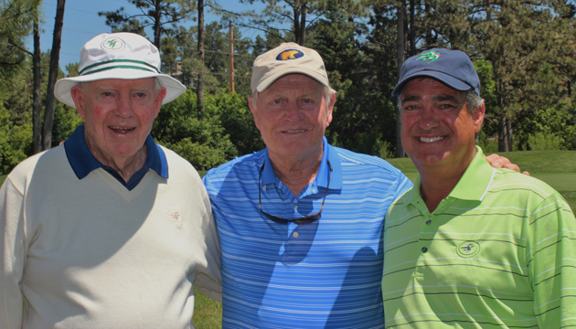 Vickers, Nicklaus and Keith Schneider in 2015. (Photograph by Jim Mandeville/Courtesy of Castle Pines Golf Club)