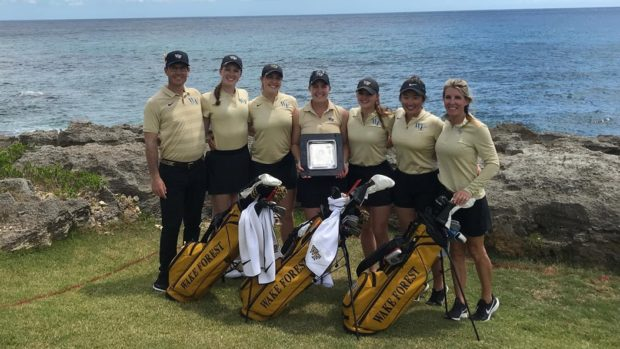 Kupcho, center, with her victorious Demon Deacons teammates at Casa de Campo.