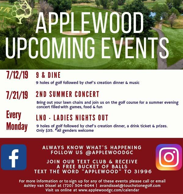 Applewood Upcoming Schedule