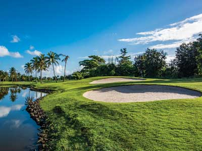 TWICE AS WET: Water guards holes on Wyndham Grand Rio Mar's Ocean and River courses.