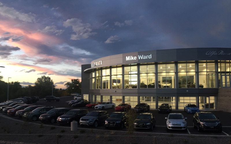 Mike Ward Automotive at dusk