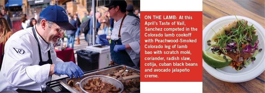 Chef David Sanchez of Vail Golf Club and Peachwood Smoked Colorado Leg of Lamb