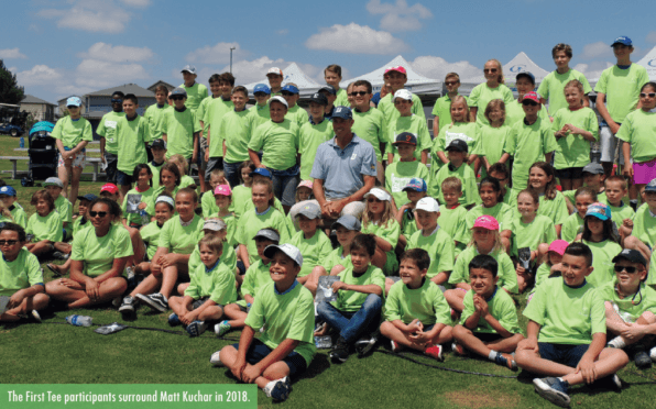 The First Tee participants surrounded by Matt Kuchar in 2011