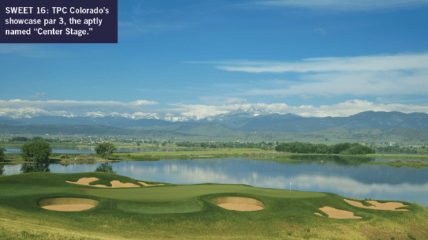 "TPC Colorado's showcase par 3, the aptly named ""Center Stage."""