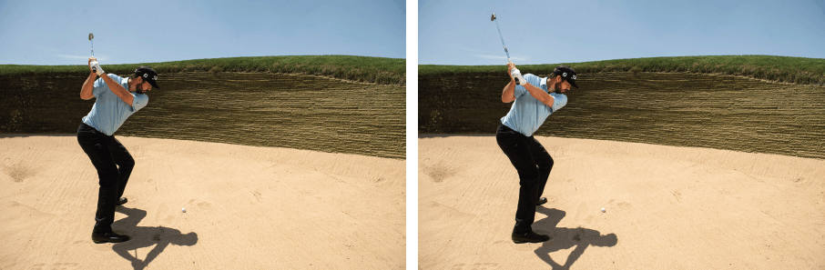 The proper backswing to get out of a deep bunker