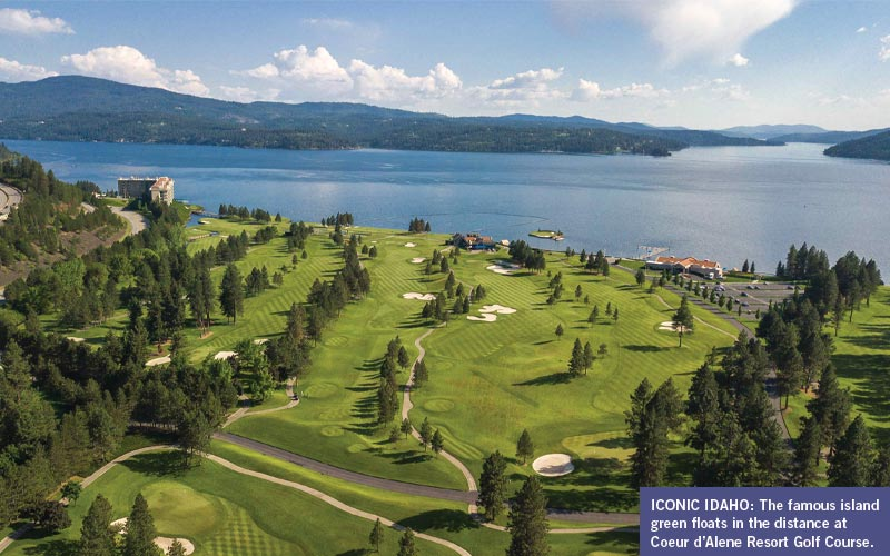 Coeur d'Alene Resort Golf Course in Idaho from above.