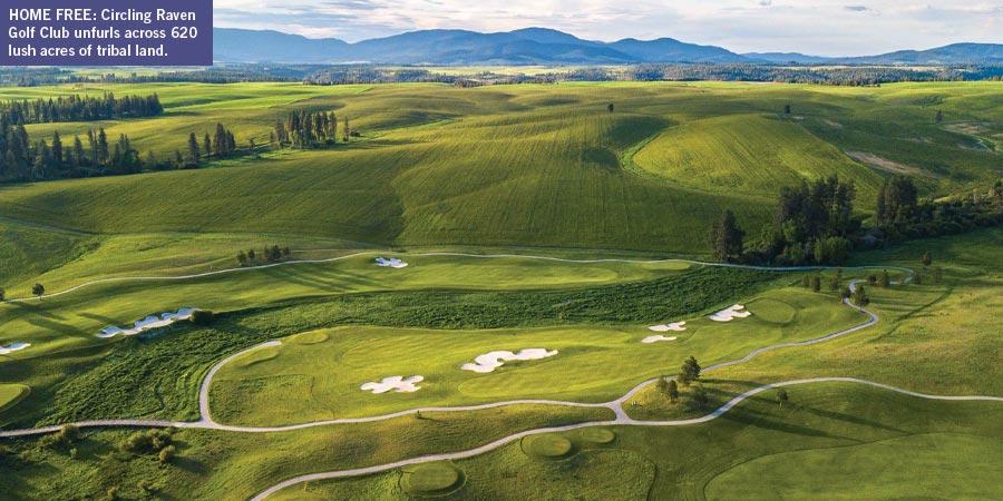 Circling Raven Golf Clubs unfurls across 620 lush acres of tribal land in Idaho.