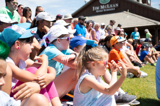 Young attendees watch Jennifer Kupcho at The First Tee of Green Valley Ranch.