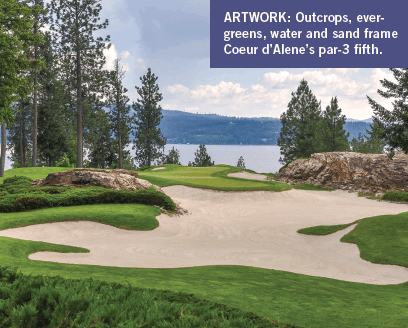Outcrops, evergreens, water and sand frame Coeur d'Alene's par-3 fifth.