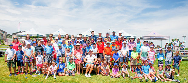 Jennifer Kupcho (front and center) with junior attendees of Saturday's exhibition at Green Valley Ranch Golf Club