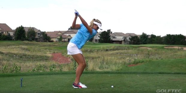Lexi Thompson rips a drive down the middle of the fairway.