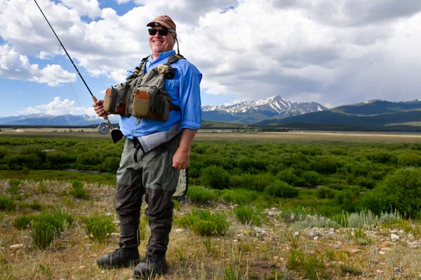 Master fisherman Charles Duke in Colorado after his surgery at the Steadman Hawkins Clinic Denver