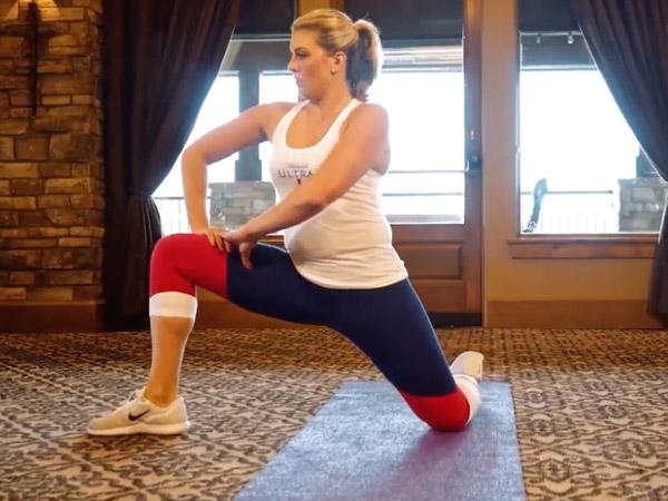 Elizabeth Martin performs a hip mobility exercise called the hip matrix