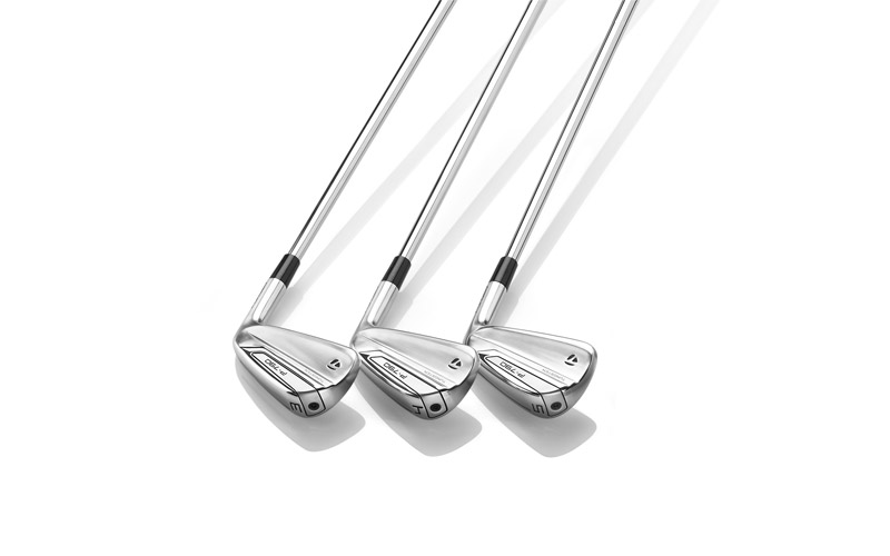 The new TaylorMade irons laid out.