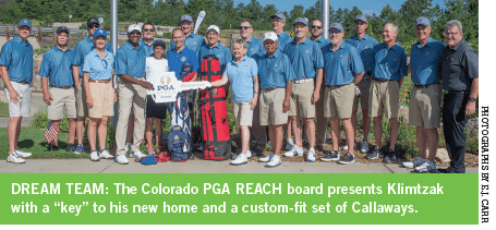 """The Colorado PGA REACH board presents Klimtzak with a """"key"""" to his new home and a custom-fit set of Callaways."""