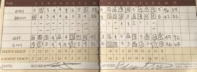Eloy Ramos' scorecard from The Club at Pradera.