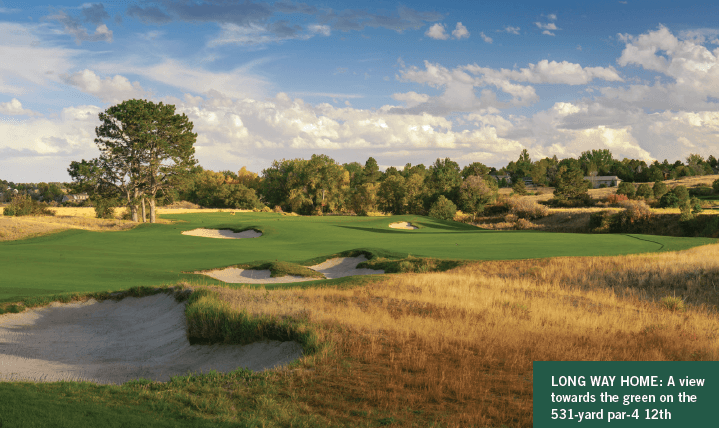 A view towards the green on the 531-yard par-4 12th, the site of the 2019 U.S. Mid-Amateur Championship.