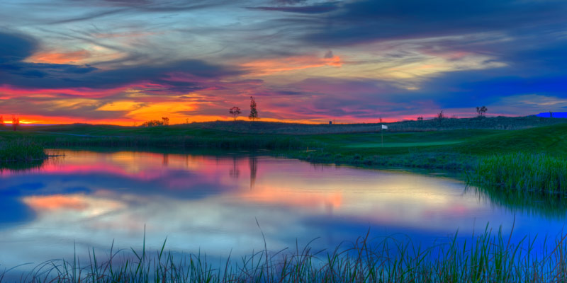 A beautiful sunset at The Bridges Golf Club in Montrose, Colorado.