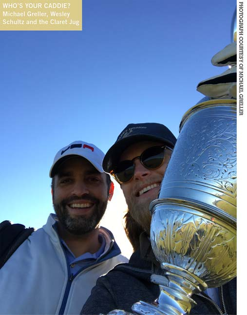 Wesley Schultz with Michael Greller and the Claret Jug at Chambers Bay