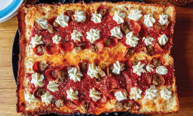 "Blue Pan does a ""Detroit-style"" Brooklyn Bridge Pizza"