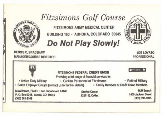 Old Fitzsimons Golf Course scorecard