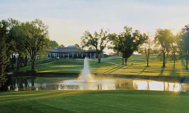 The current view of the Greeley clubhouse from the 18th hole.