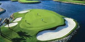 Wind and pin placement on the Ritz-Carlton's ninth green can result in four- or five-club difference.