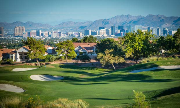 Golf Summerlin with the Vegas Strip in the background