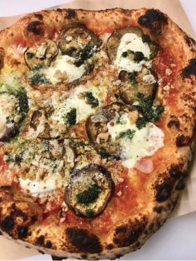 """Pizzeria Lui's charry Eggplant """"Parm"""" pizza."""
