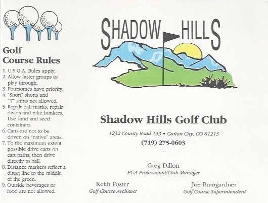 Old Shadow Hills Golf Club scorecard
