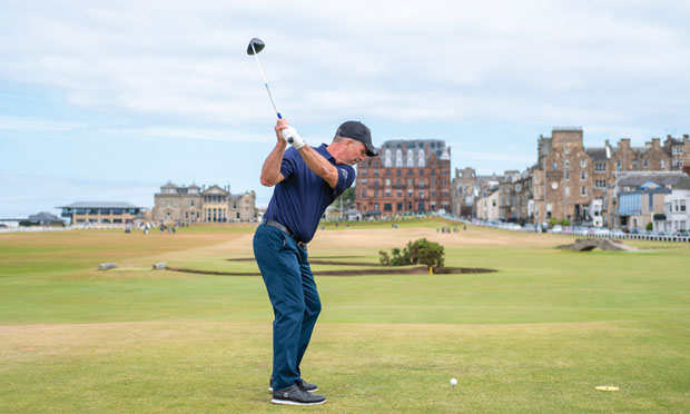 Tim Schantz, CEO of Troon Golf, teeing off on the 18th at St. Andrews