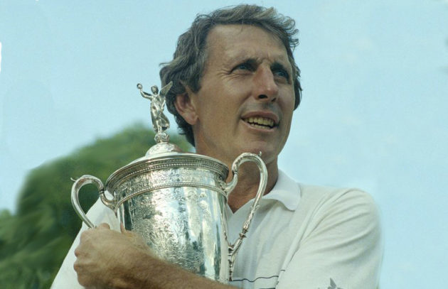 Hale Irwin clutches his third U.S. Open trophy at Medinah Country Club.