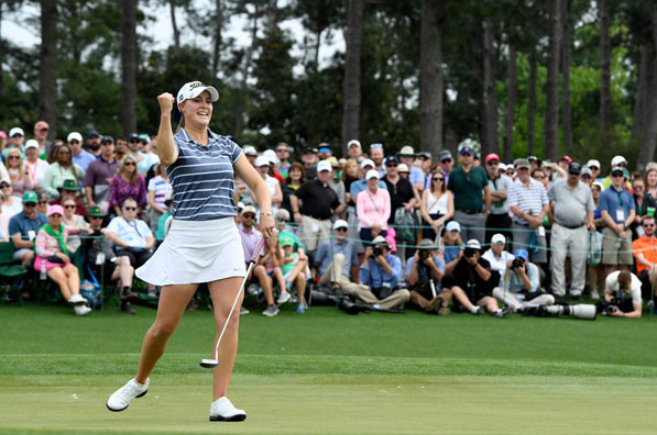 Kupcho celebrates her birdie putt on the 18th green at the Augusta National Women's Amateur. (photo courtesy of Augusta National)