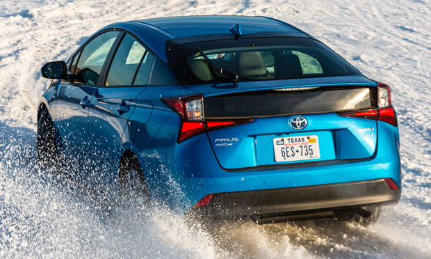 The 2019 Prius AWD-e trekking through the snow