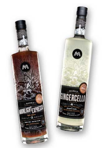 Marble Distillery Gingercello and Moonlight Espresso Vodka. Perfect Holiday spirits.
