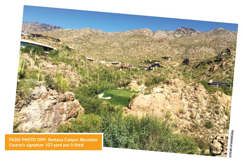 Ventana Canyon Mountain Course's signature 107-yard par-3 third in Tucson, Arizona