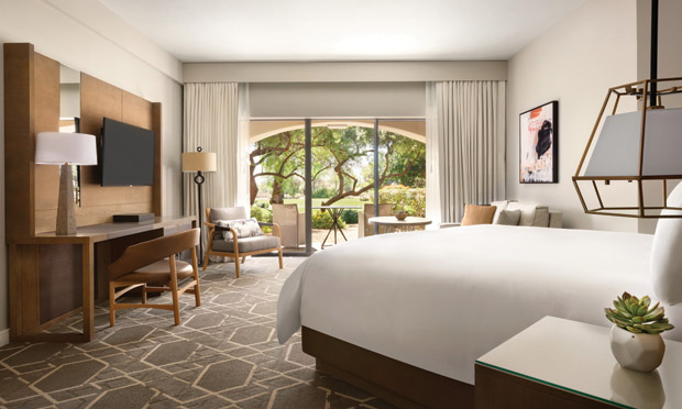 A luxury hotel room at the Fairmont Scottsdale Princess