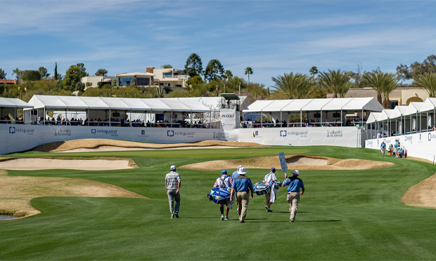 Players walk down the fairway at the Cologuard Classic played in Tucson, Arizona