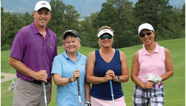 The game introduced Sue Payton (second from left) to Jason Doyle, the president of UMB Bank in Colorado Springs (left); and Eisenhower Golf Club WGA members Janet Yoder and Ron Irons (far right).