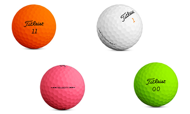 Titleist's Velocity golf ball comes in orange, white, pink and green