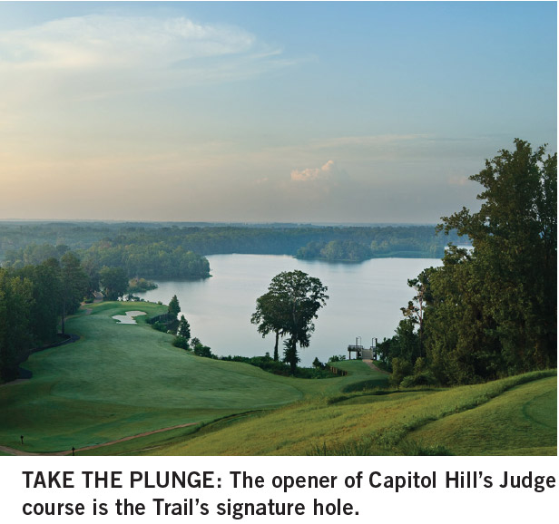 The opener of Capitol Hill's Judge course is the Robert Trent Jones Trail's signature hole.
