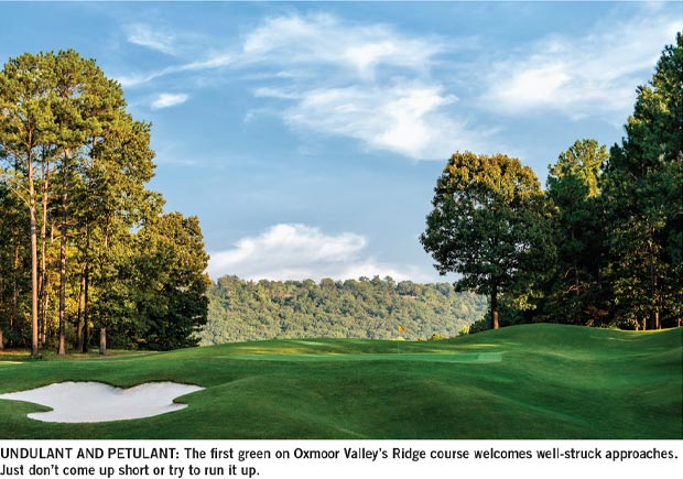 The first green on Oxmoor Valley's Ridge course welcomes well-struck approaches. Just don't come up short or try to run it up.