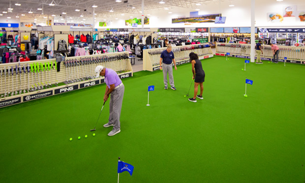 the putting green at the PGA TOUR Superstore